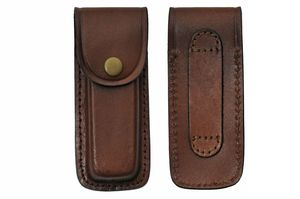 Folding Knife Sheath | Brown Real Leather Snap-Button Case for 5