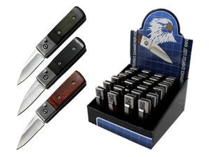 Mini Automatic Folding Pocket Knife Set | 24 Piece Push-Button Wood Handle