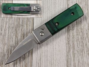 Switchblade Automatic Folding Knife | Green Wood Handle 1.75