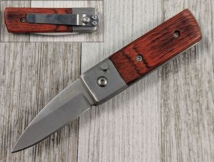Switchblade Automatic Folding Knife | Brown Wood Handle 1.75