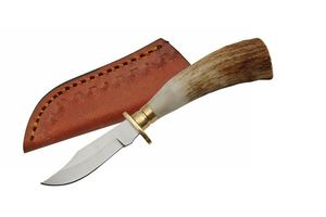 Fixed-Blade Hunting Knife | Small Mini Stag Horn Bone Silver Skinning Blade