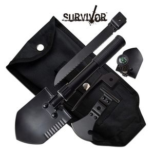 Survival Tool Compact 5-In-1  Dibble Pick, Entrench Shovel, Hatchet, Saw + Case