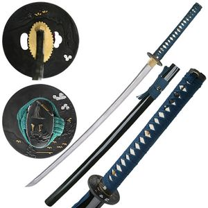 Hand-Forged Carbon Steel Navy Blue Japanese Samurai Sword