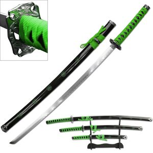 3 Piece Green Katana Sword Display Set with Stand Bright Zombie Green Sakura
