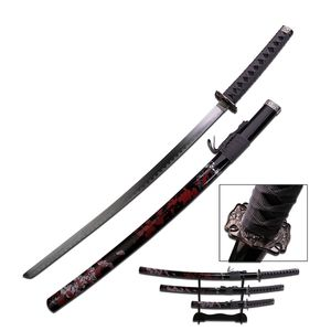 Japanese Samurai Sword Katana | Black Blood Red Carbon Steel 3 Pc. Set + Stand
