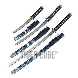 Katana Set | 3 Piece Black Crane Cherry Blossom Japanese Samurai Sword Set