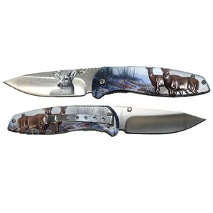 Spring-Assist Folding Knife | Deer Textured Handle Pocket Folder Gift T272139-DR