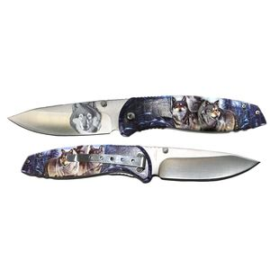 Spring-Assist Folding Knife | Wolf Textured Handle Pocket Folder Gift T272139-WF