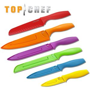 Top Chef 6-Pc Multicolor Kitchen Knife Set - Slicer, Santoku, Paring, And More