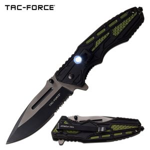 Spring-Assist Folding Knife | Mtech Green Tactical EDC Black Serrated 3.5