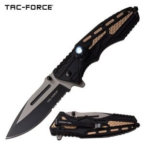 Spring-Assist Folding Knife | Mtech Tan Tactical EDC Black Serrated 3.5