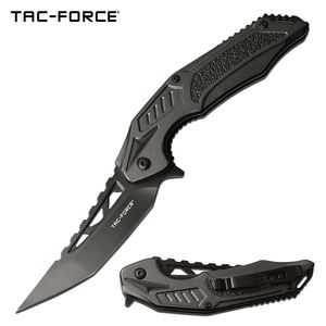 Spring-Assist Folding Knife | Tac-Force Black Upswept Tanto Blade Tactical Gray