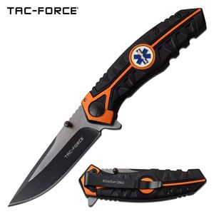 Spring-Assist Folding Knife Tac-Force Paramedic Black 3.5