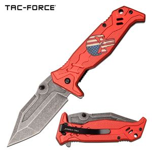 Spring-Assist Folding Knife | Tac Force Red Skull Punisher Tactical Tf-1025Rd