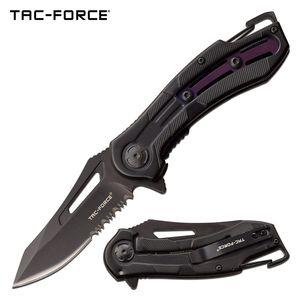 Spring-Assist Folding Knife Tac-Force Serrated Carabiner Tactical Black Purple