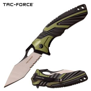 Spring-Assist Folding Knife Tac-Force Black Green Tactical Serrated Tanto Blade