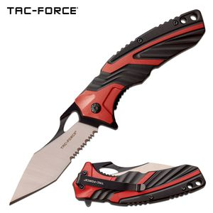 Spring-Assist Folding Knife | Tac-Force Black Red Tactical Serrated Tanto Blade