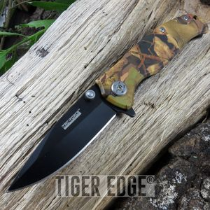 Tac-Force Brown Camouflage Handle Spring Assisted Hunting Folding Knife