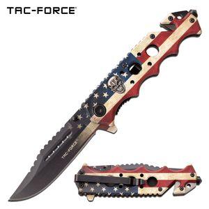 Spring-Assist Folding Knife | Tac-Force Battle-Worn American USA Flag with Skull