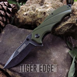 Tac-Force Edc Army Green G10 Handle Spring Assist Folding Knife Blade Gift