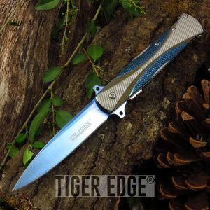 Spring Assist Folding Pocket Knife Tac-Force Blue Titanium Stiletto Dagger Blade