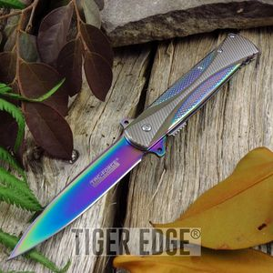 Spring Assist Folding Pocket Knife Tac-Force Rainbow Titanium Stiletto Blade
