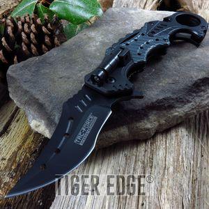 Spring-Assisted Folding Pocket Knife Tac-Force Gray Black Emt Rescue Led Light
