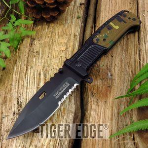 Spring Assist Folding Pocket Knife Tac-Force Black Green Camo Serrated Tactical