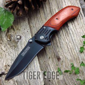 Spring-Assisted Folding Pocket Knife Tac-Force Wood Handle Black Blade Tf-938Bw
