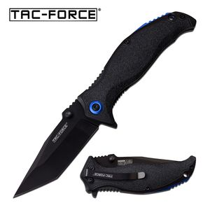 Spring-Assist Folding Knife Tac-Force Black Tanto Blade EDC Tactical Blue 964TBK