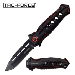 Spring-Assist Folding Knife | Tac-Force Black Tanto Stiletto Blade Red Tactical