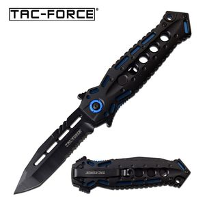 Spring-Assist Folding Knife | Tac-Force Black Tanto Stiletto Blade Blue Tactical