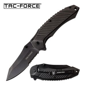 Spring-Assist Folding Knife | Tac-Force Gray Serrated Blade Heavy Tactical Edc
