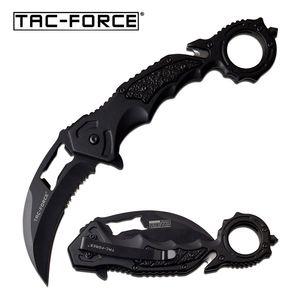 Spring-Assist Folding Knife | Tac-Force Karambit Black Serrated Blade Rescue