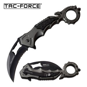 Spring-Assist Folding Knife Tac-Force Gray Karambit Black Serrated Blade Rescue