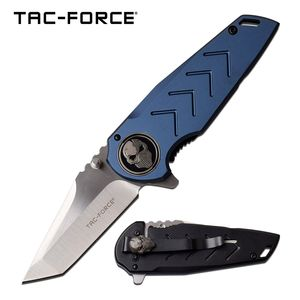 Folding Pocket Knife | Tac-Force Silver Tanto Blade Blue Skull Premium Tactical