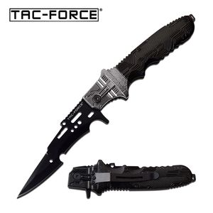 Spring-Assist Folding Knife Tac-Force Gray Black Arrowhead Blade Tactical EDC