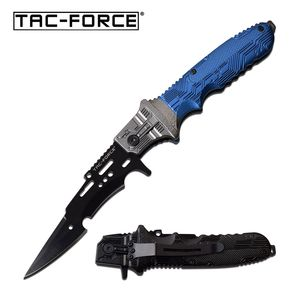 Spring-Assist Folding Knife Tac-Force Blue Black Arrowhead Blade Tactical EDC