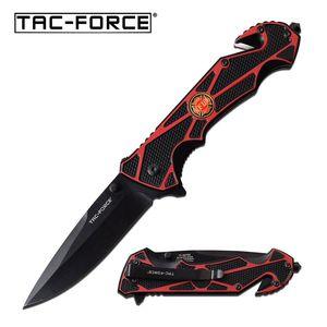 Spring-Assist Folding Knife   Tac-Force Red Firefighter Black Blade Rescue Edc