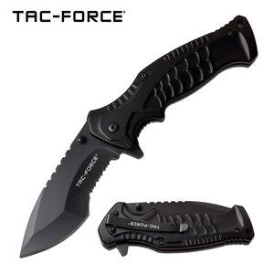 Spring-Assist Folding Knife   Tac-Force Tactical Black Serrated 3.5