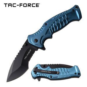 Spring-Assist Folding Knife   Tac-Force Blue Tactical Black Serrated 3.5