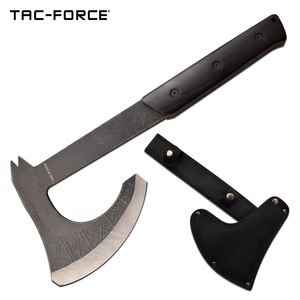 Hand Ax Tac-Force Tactical Bearded Axe Hatchet Tomahawk Black Full Tang + Sheath
