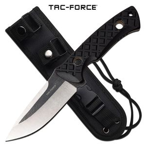 Tactical Combat Knife Tac-Force Fixed-Blade Full Tang Black G10 Handle + Sheath