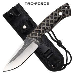 Tactical Combat Knife Tac-Force Fixed-Blade Full Tang Tan G10 Handle + Sheath