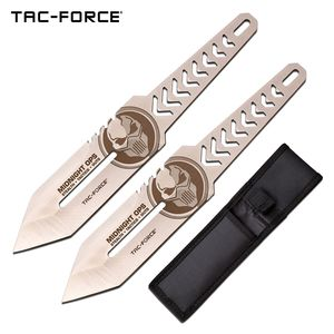 Throwing Knife Set | 2-Pc. Tac-Force Midnight Ops Skull with Sheath - Silver