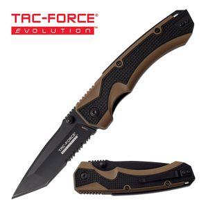 Spring-Assisted Folding Knife   Tac-Force EVOLUTION Tan Serrated Tanto Blade