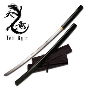 Ten Ryu Hand-Forged Carbon Steel Black Shirasaya Japanese Samurai Sword