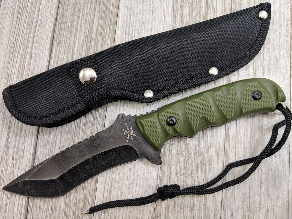 Survival Knife | Tactical Stonewash Gray Blade Green Army Handle + Sheath