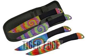 Throwing Knife Set 4 Piece Trippy Tie Dye Full Tang 9