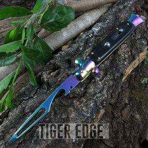 Switchblade Black Rainbow Bottle Opener - No Blade - Not An Automatic Knife
